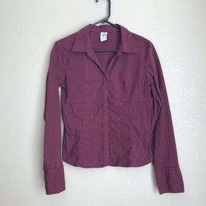 Ellemenno Maroon Pin Stripe Fitted Blouse, Sz Med